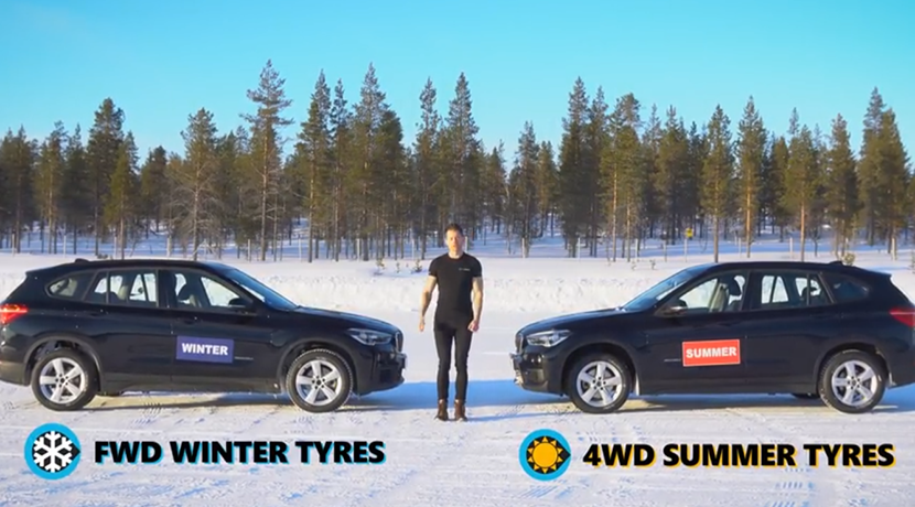 Comparison in the snow: Front wheel drive and winter wheels Vs 4x4 drive and summer wheels